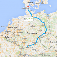 Southern Germany to Denmark via Berlin map