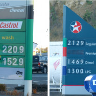 Petrol prices on the same day!