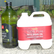 Extra virgin olive oil and rice bran oil