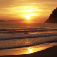 Sunrise behind Slipper Island, Coromandel, New Zealand