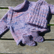 Hand-knitted baby jumper, socks and hat